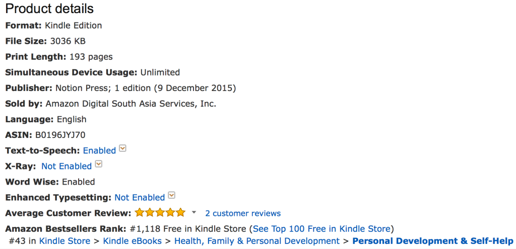 Best Seller Rank #1118
