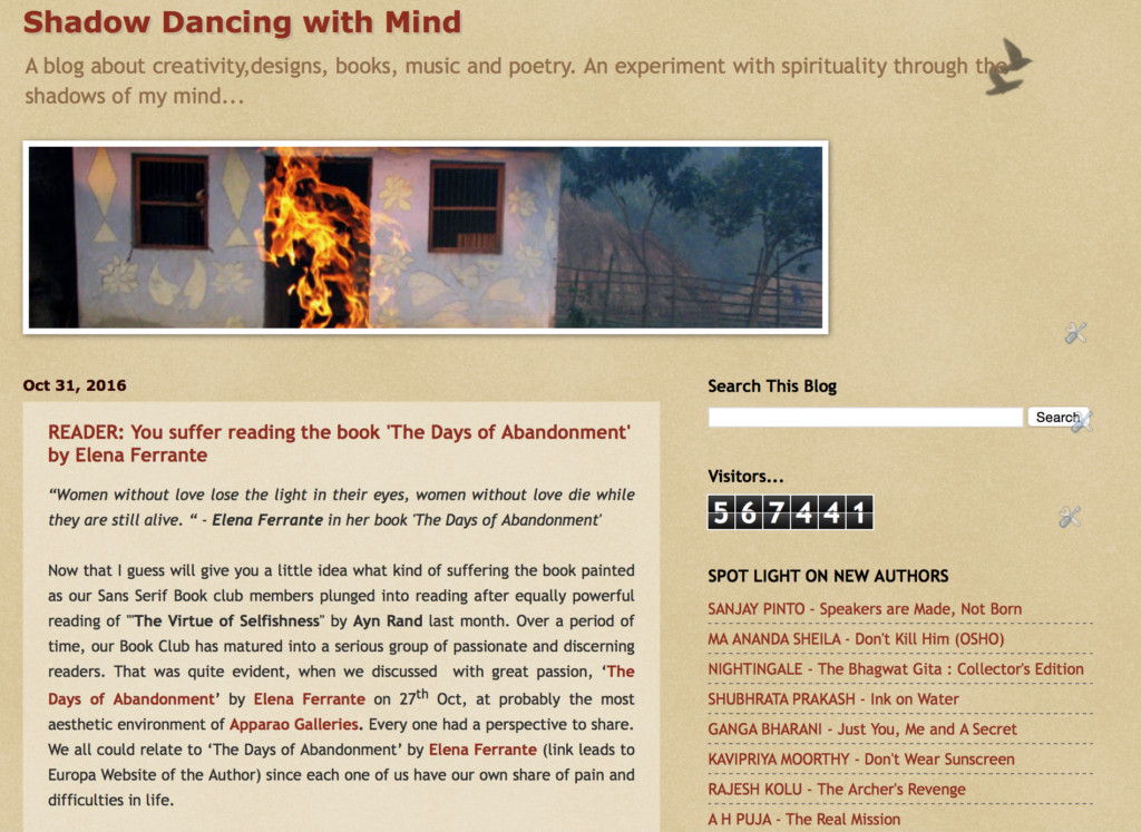 New Authors Featured at my Blog : Shadow Dancing With Mind